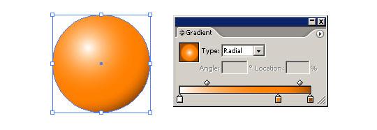 Vytvoření 3D koule v illustratoru pomocí jednoduchého gradientu