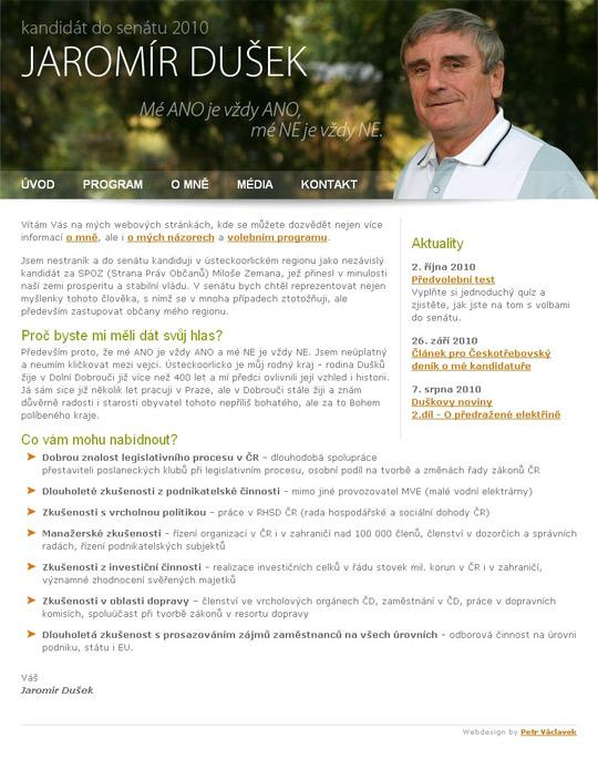 Jaromír Dušek - web pro senátní volby 2010