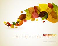 Podzimní tapeta s kalendářem na plochu