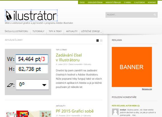 Nabídka reklamy na webu o Adobe Illustrátoru