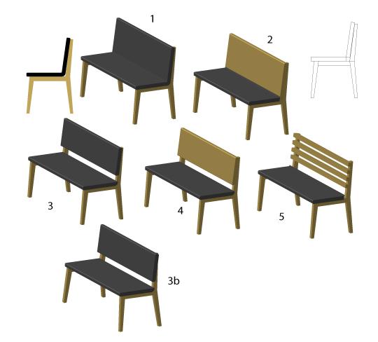 3D návrhy lavice