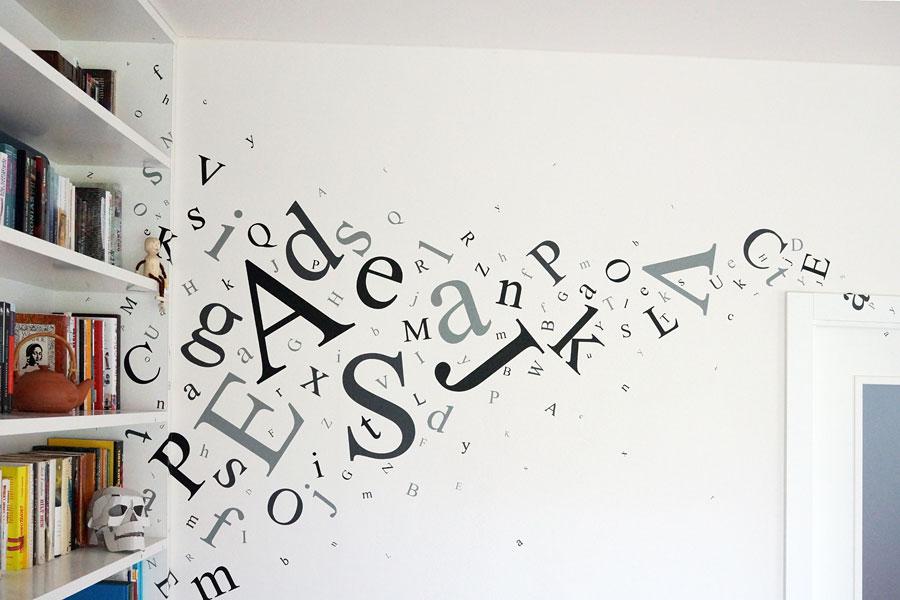 Typografické nálepky na zeď