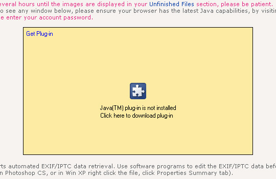 Dreamstime - nahrávání obrázků přes Java rozhraní - problém s JAVA pluginem