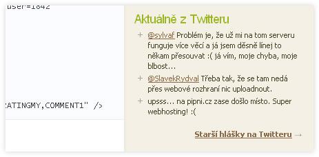 Textpattern plugin kml_twitter pro zobrazování zpráv z twitteru