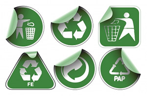 labels with recycle symbols