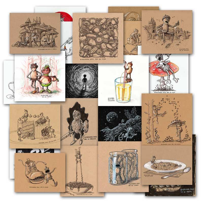 Ukázka několika mých kreseb z Inktoberu 2020
